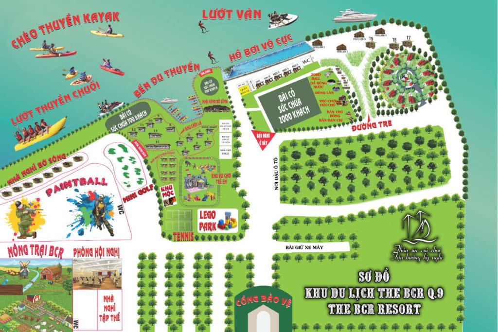 Bản đồ các điểm vui chơi ở khu du lịch BCR